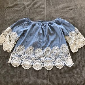 Bell sleeve lace accented blouse